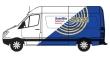 "CLASTC102 - 1:87 Scale - 1990s Sprinter Van - White - Blue - ""Satellite Telecom"""